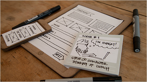Two interaction design students launched a company named Sticky Jots, which offers kits to help anyone get started with low-fidelity paper-based prototypes, such as storyboards.