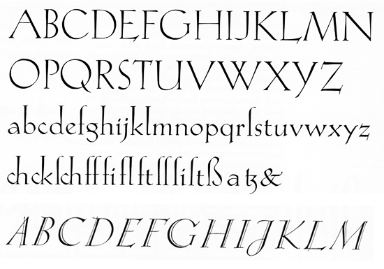 Koch Antiqua: Koch Antiqua, and uppercase letters of the italic.