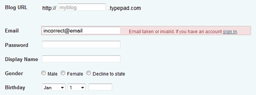 Typepad sign-up form