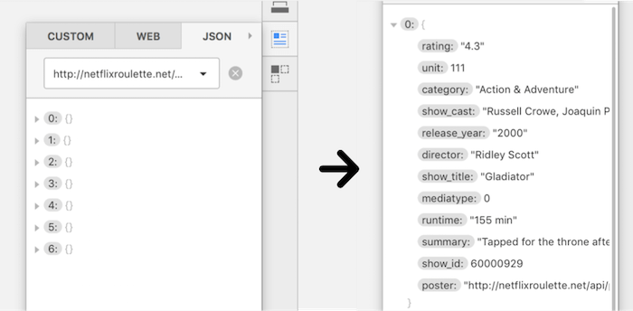 Pasting the URL from the JSON file into the input field will bring up a list of (currently) seven movies. Expand one of them to see its properties, the key-value pairs