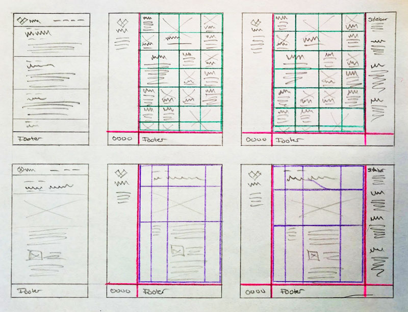 Hand-drawn sketch of a layout with the grids highlighted in unique colors.