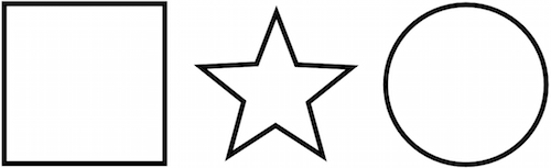 Three shapes: a square, a star and a circle.