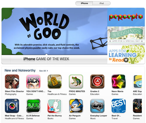Only a small number of apps are featured on the Apple App Store homepage.