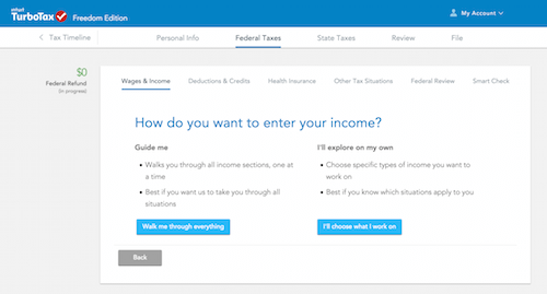 "Turbotax's ""Walk Me Through Everything"" function"