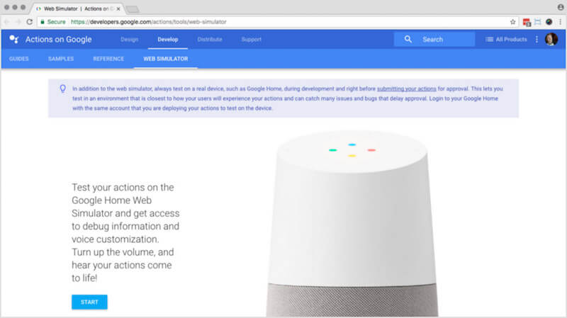 The Google Home Web Simulator