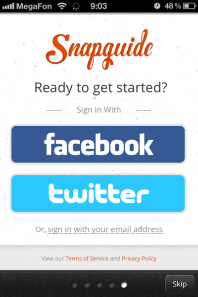 The Snapguide app offers one-click sign-on via Facebook or Twitter.
