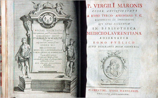 Title page of Joseph Manni's unique edition of Virgil.