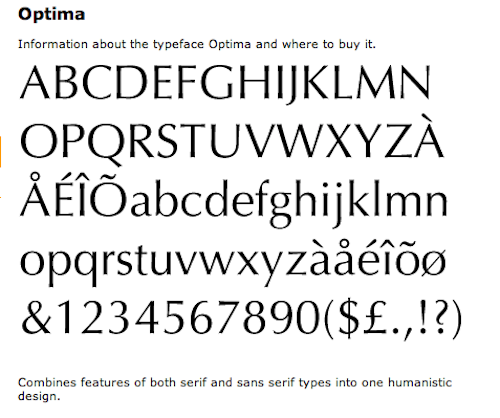 Optima Typeface