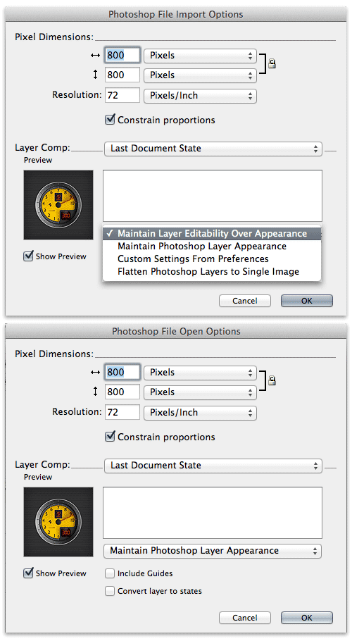 Photoshop import and open.