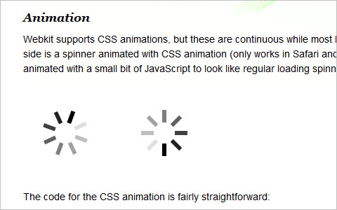 CSS3 loading spinners without images