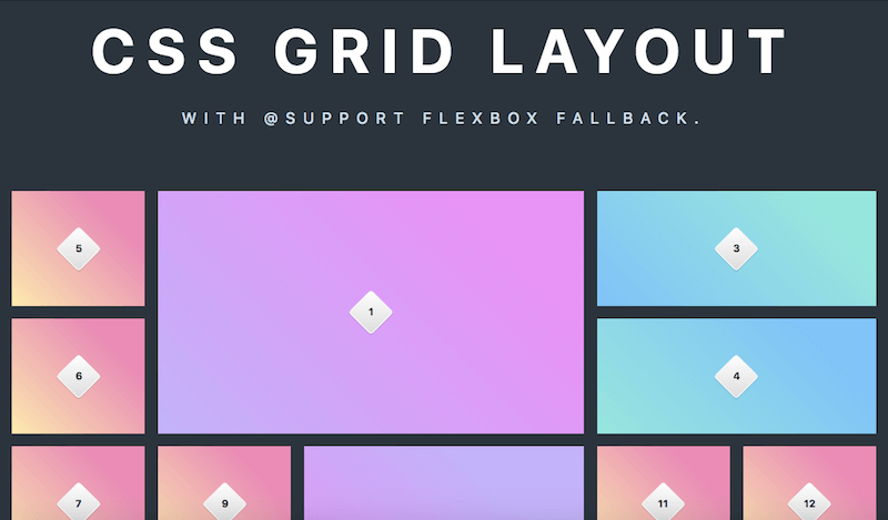CSS Grid Layout with @support Flexbox Fallback