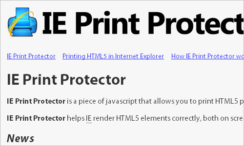 IE Print Protector - ieCSS
