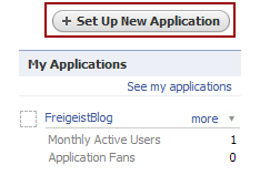 Create a new Facebook application
