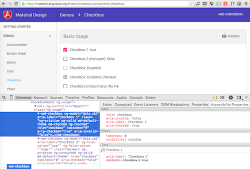 AngularJS material in Chrome with accessibility inspector open