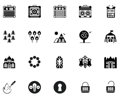 Solid icons.