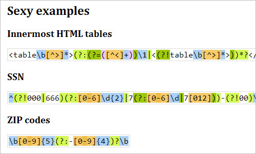 JavaScript Regex Syntax Highlighter