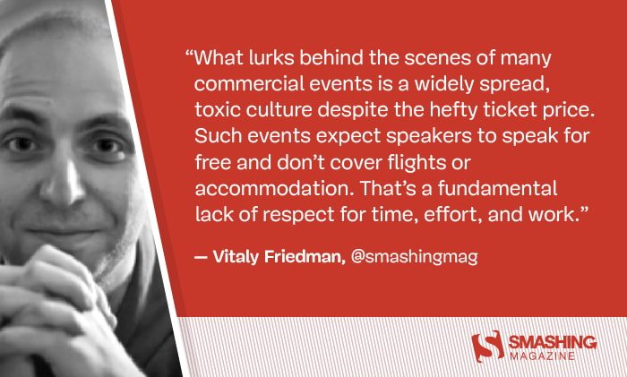 Don't Pay To Speak At Commercial Events — Smashing Magazine