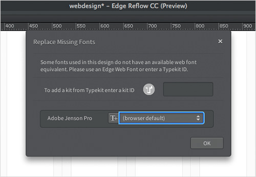 Dialog for missing fonts in Edge Reflow CC.