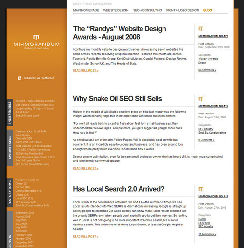 Showcase of Unusual Layouts - Mihmorandum: The Small Business Web Design + Local SEO Blog