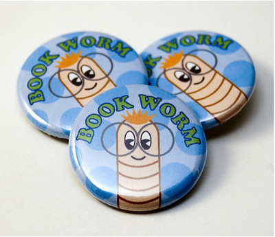 Pins, Badges and Buttons - Bookworm buttons