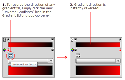 New Gradient Reverse Option in Fireworks CS5