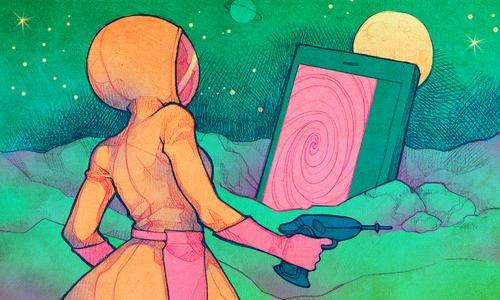 A girl in a spacesuit investigates a suspicious portal.