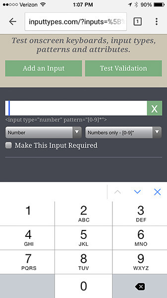 Setting the pattern attribute to [0-9]* prompts iOS to display a number pad.