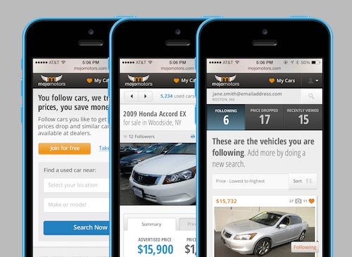 Mojo Motors mobile web screens