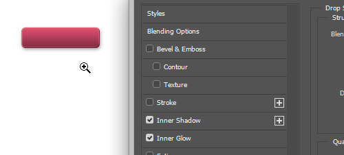 Holding Command + Spacebar to access the zoom tool within Blending Options.