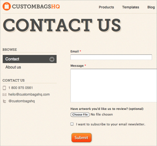 Contact us - Custom Bags HQ