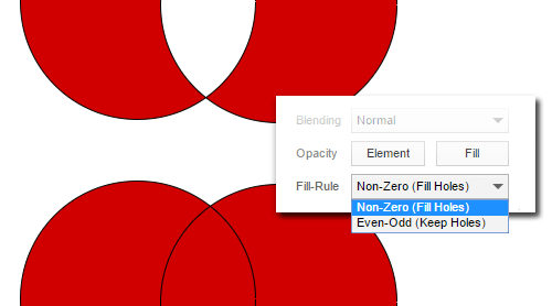 "An example using a ""Non-Zero (Fill Holes)"" and ""Even-Odd (Keep Holes)"" fill in Gravit."