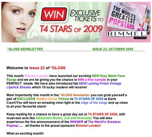 Rimmel London newsletter