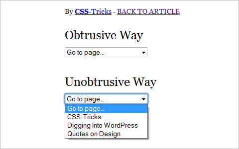 Unobtrusive Dropdown Page Changer