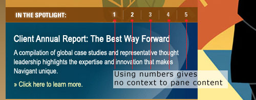 Navigant Consulting uses numbers for tab control text.