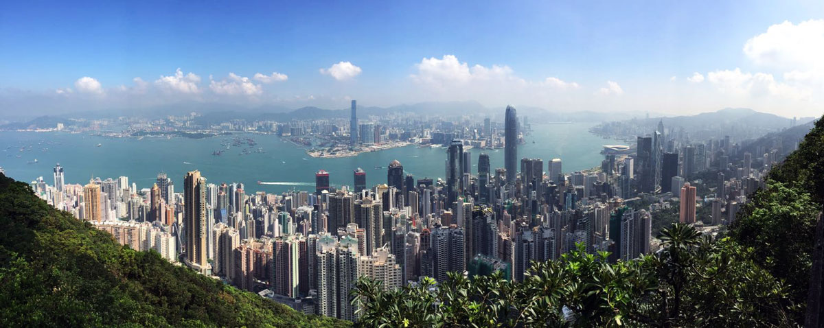A view onto the soutern part of HongKong during daylight, taken from Victoria Peak
