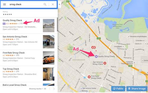 Google Maps disguised ads