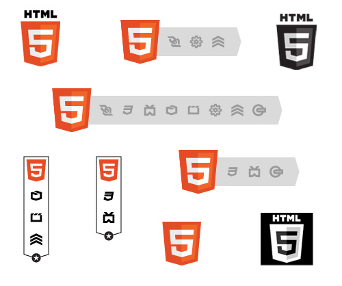 Various examples of the new HTML5 Logo