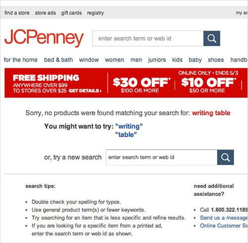 JC Penny doesn't allow users to search by a commonly used synonym