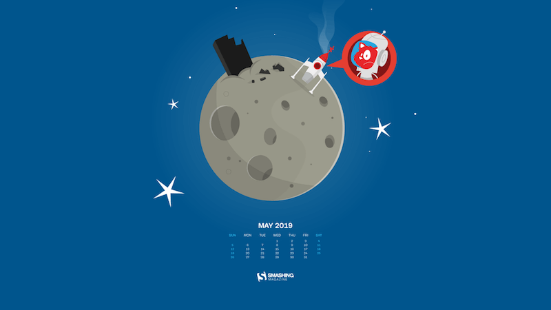 Illustration of the Smashing Cat's rocket which has landed on the moon and seems to have technical difficulties.