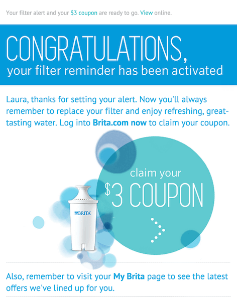 Brita's filter reminder feature