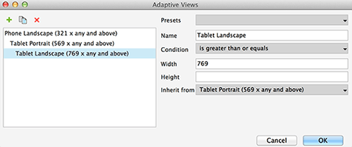 Adaptive views dialog for tablets in landscape orientation
