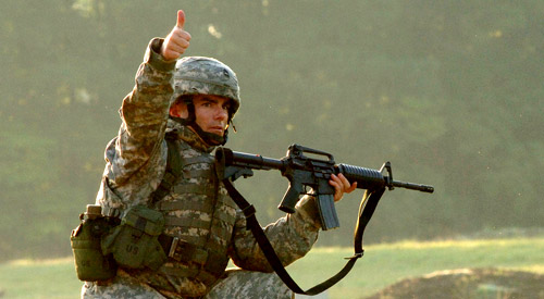 Soldier Giving a Thumbs Up