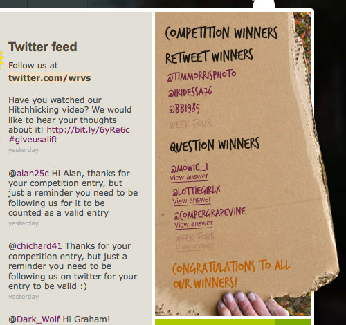 Twitter winners from the Give us a lift campaign website