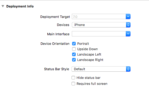 Initial Deployment info settings.