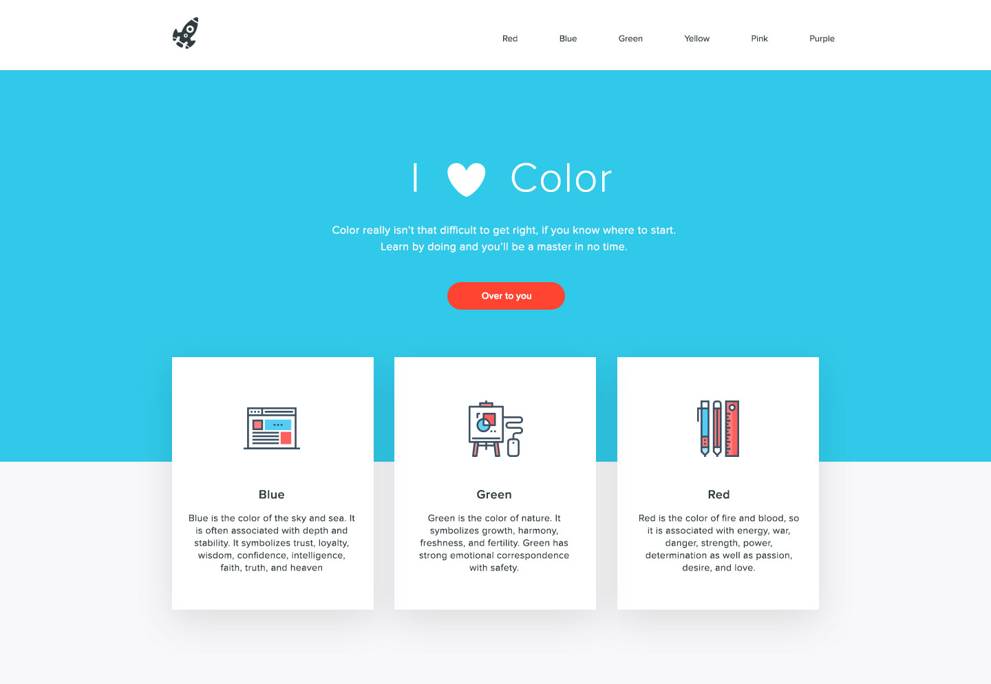 View Large Version Color Palette Applied To A Website Layout