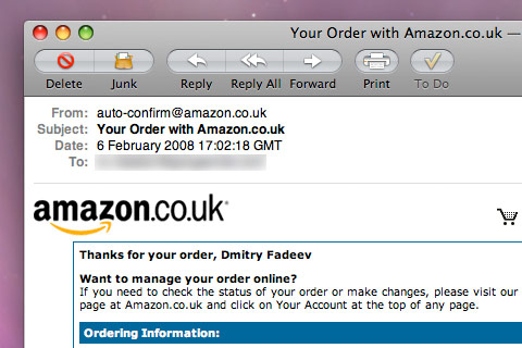 Amazon email confirmation