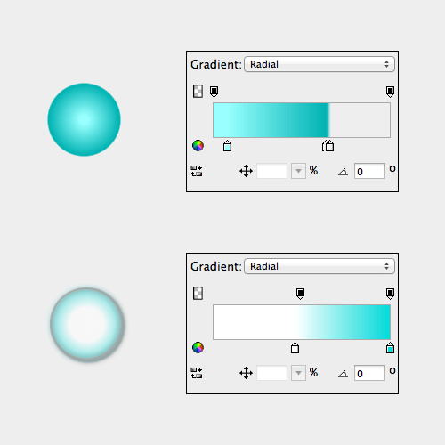 Gradients help to achieve a glass effect.