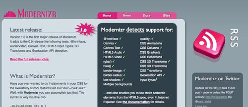 Modernizr homepage