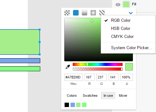 Switch between color modes