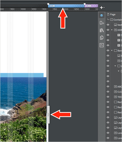 The handles for setting breakpoints and resizing in the design.